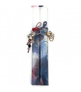Λαμπάδα χειροποίητη ζευγάρι κάτω απ' την ομπρέλα (δύο λαμπάδες)  με δώρο μπρελόκ