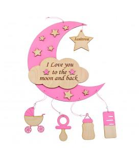 Ξύλινο ενθύμιο γέννησης για κορίτσι Β3944