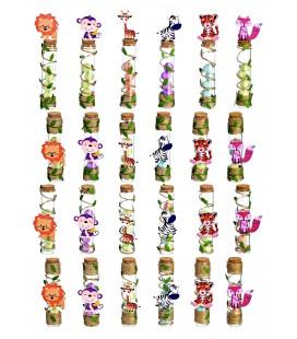 Μπομπονιέρα γυάλινοι σωλήνες με ζωάκια MPOG4383