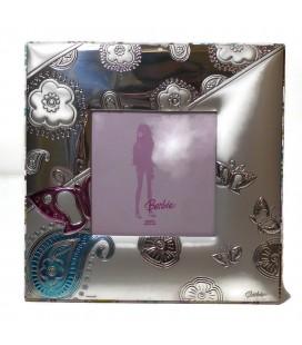 Ασημένια Κορνίζα Barbie με πεταλούδα 6Χ6