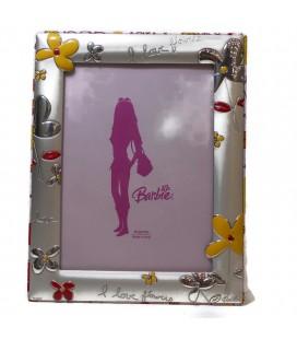 Ασημένια Κορνίζα Barbie με λουλούδια 9Χ13