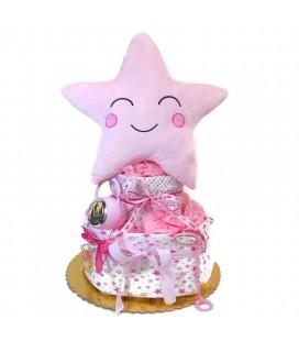 Diaper cake με ασημένια δώρα για κορίτσι 0627