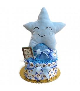 Diaper cake με ασημένια δώρα για αγόρι 0706